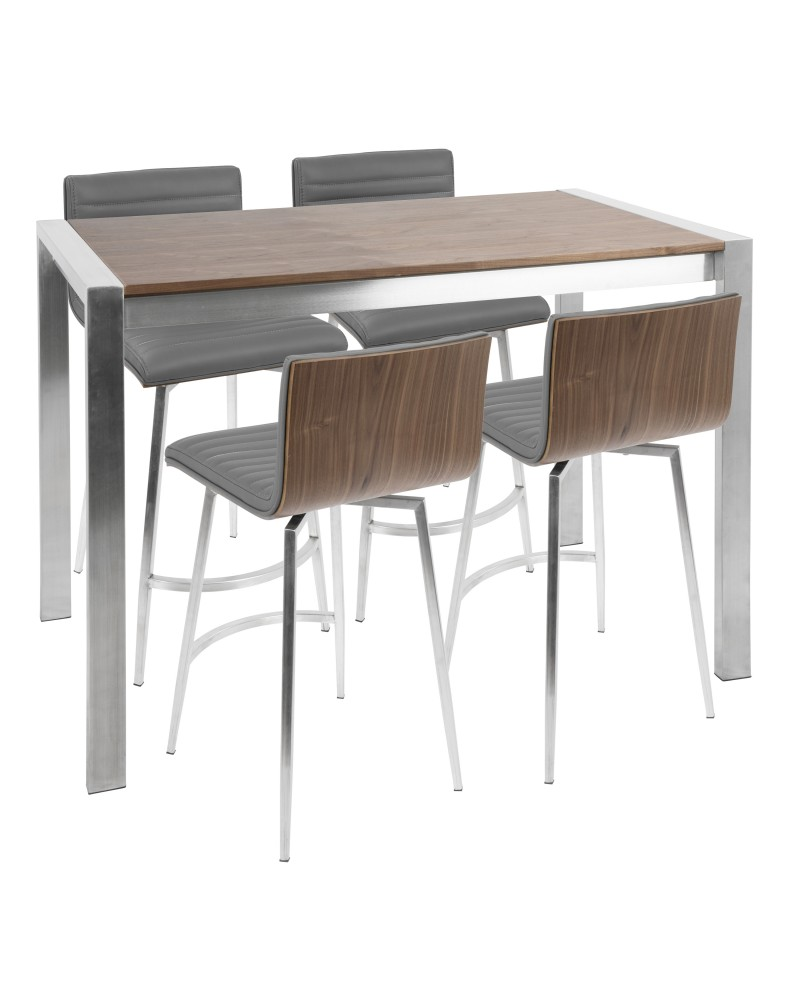 Mason 5-Piece Contemporary Counter Set in Stainless Steel, Walnut, and Grey Faux Leather