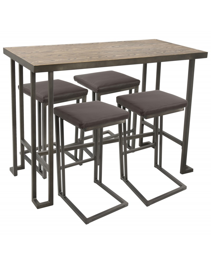 Roman 5-Piece Industrial Counter Height Dining Set in Antique and Brown