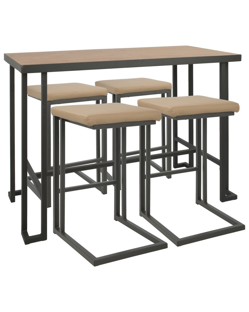 Roman 5-Piece Industrial Counter Height Dining Set in Grey and Camel