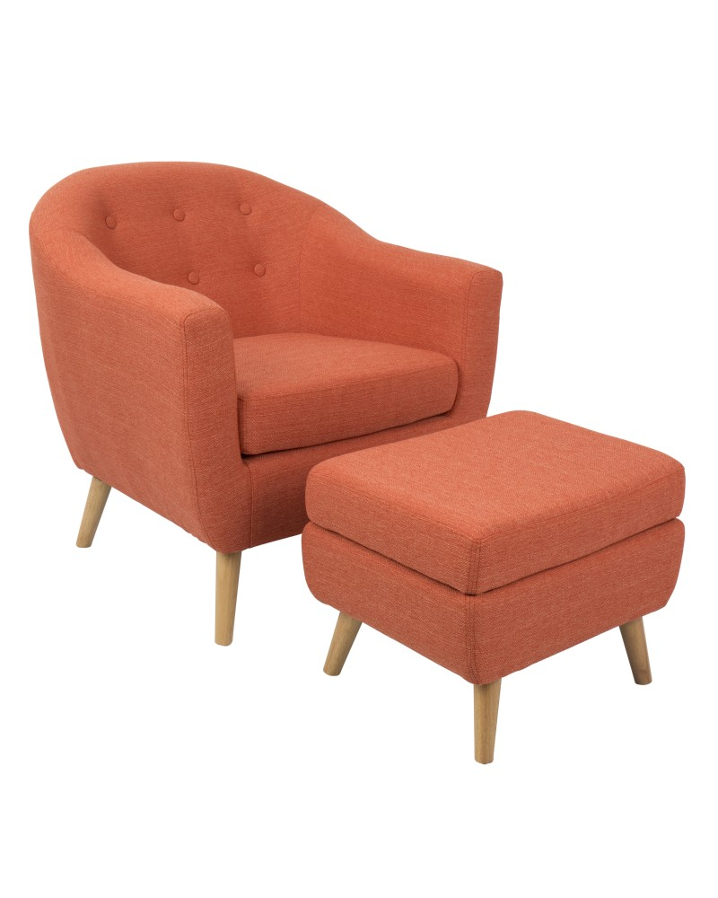 Rockwell Mid-Century Modern Accent Chair and Ottoman in Orange