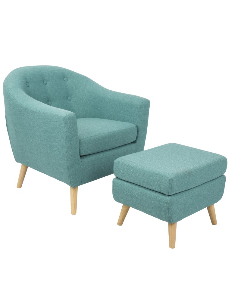 Rockwell Mid-Century Modern Accent Chair and Ottoman in Teal
