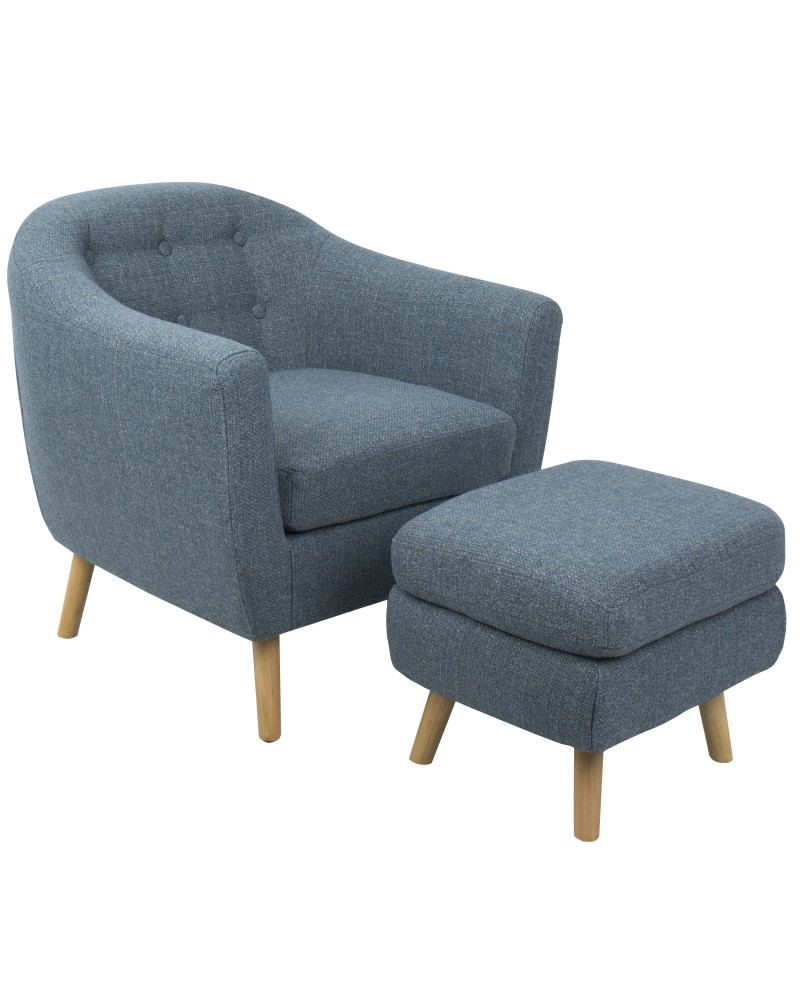 Rockwell Mid-Century Modern Accent Chair and Ottoman in Blue Noise Fabric