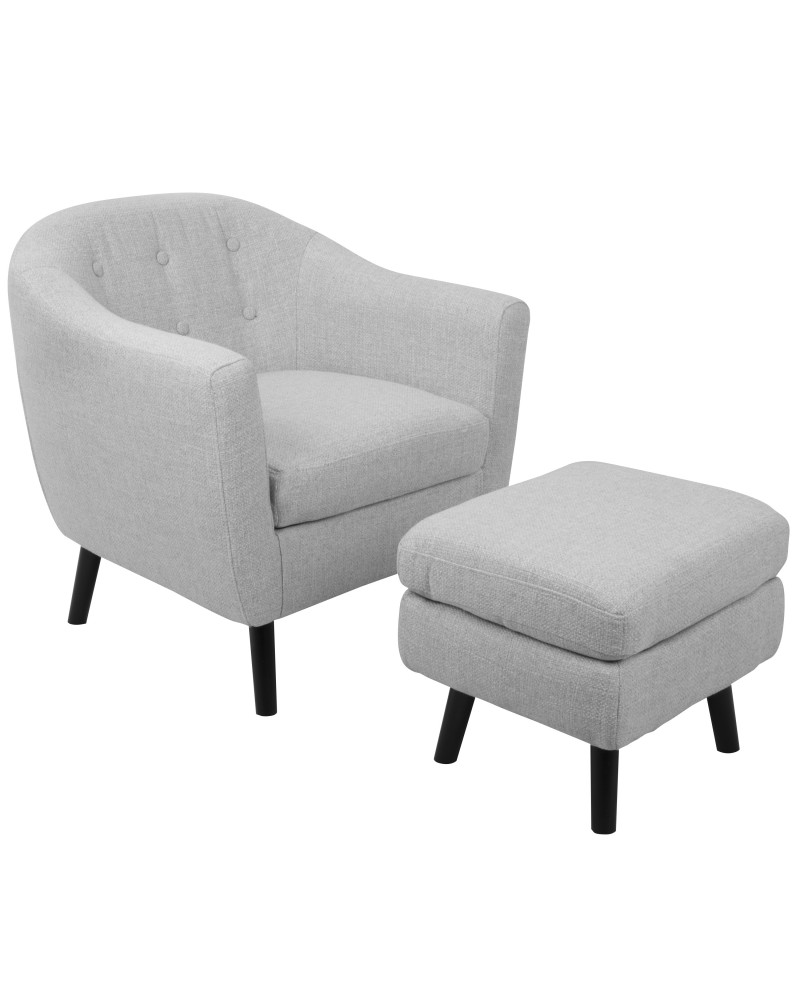 Rockwell Mid-Century Modern Accent Chair and Ottoman in Light Grey Noise Fabric