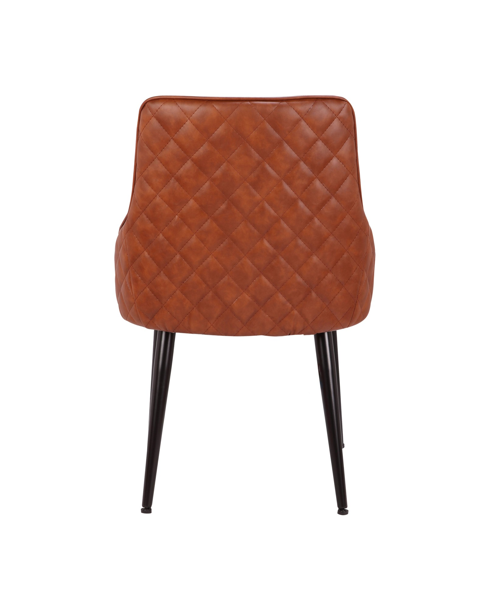 Alden Contemporary Dining/Accent Chair in Brown Faux Leather with Quilted Backrest - Set of 2