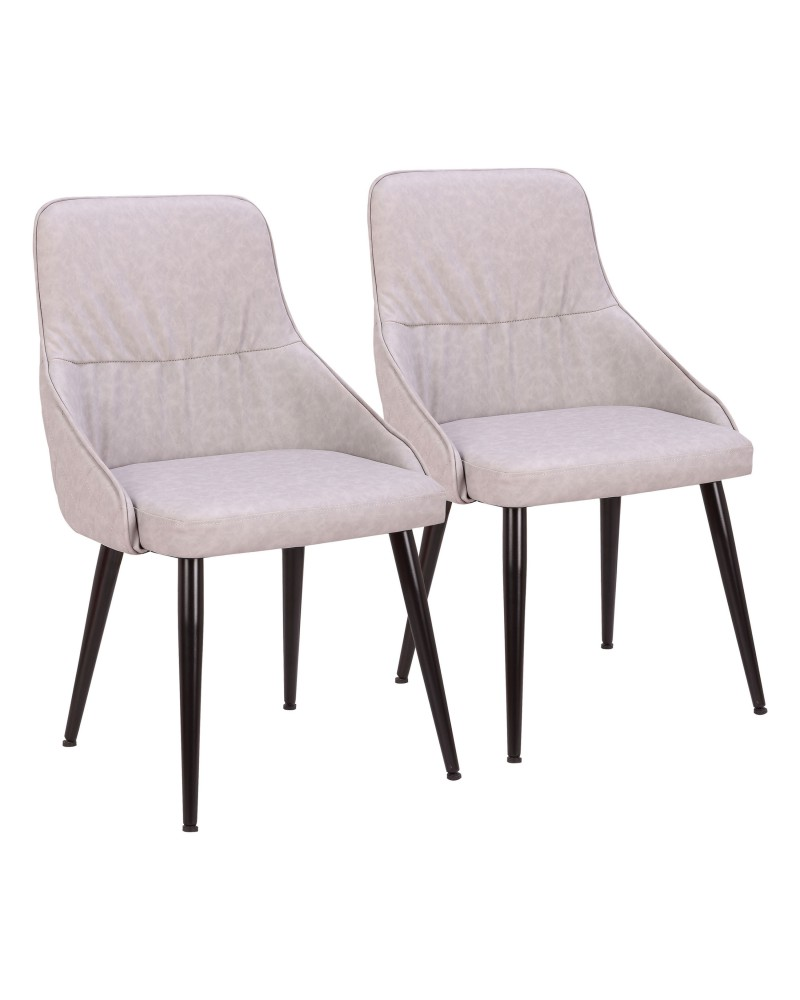 Alden Contemporary Dining/Accent Chair in Grey Faux Leather with Quilted Backrest - Set of 2