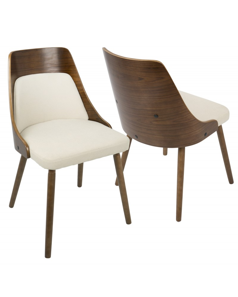Anabelle Mid-Century Modern Dining/Accent Chair in Walnut and Cream Fabric