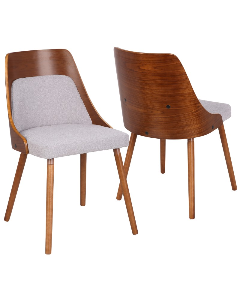 Anabelle Mid-Century Modern Dining/Accent Chair in Walnut and Grey Fabric