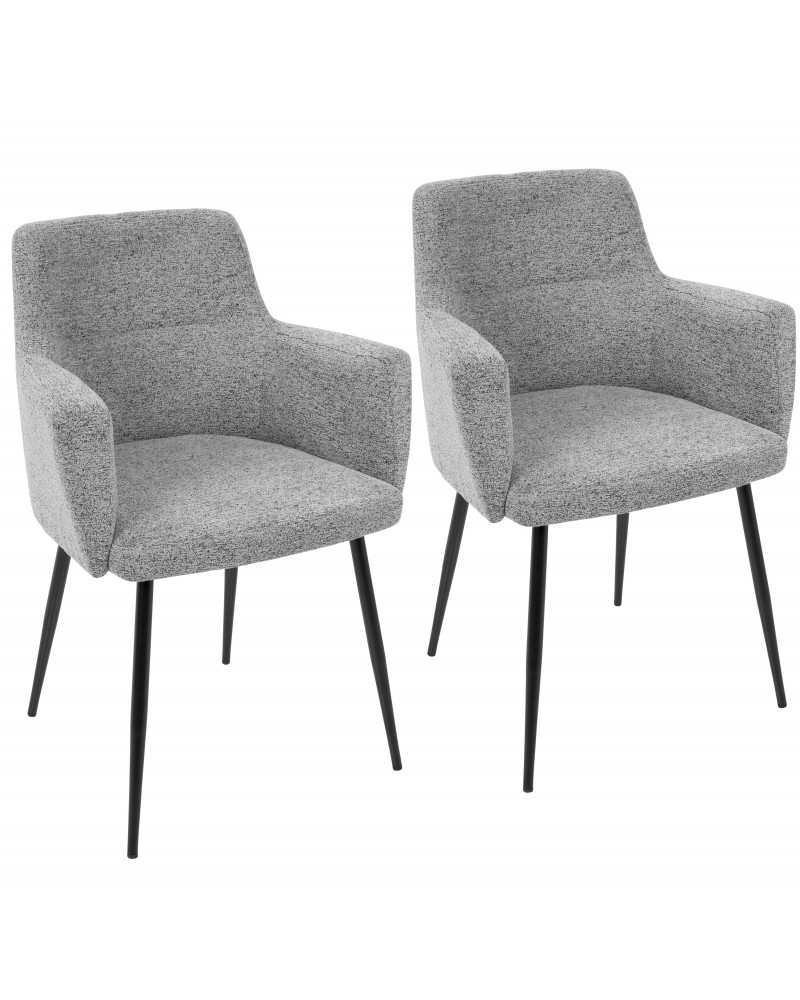 Andrew Contemporary Dining/Accent Chair in Black with Grey Fabric - Set of 2