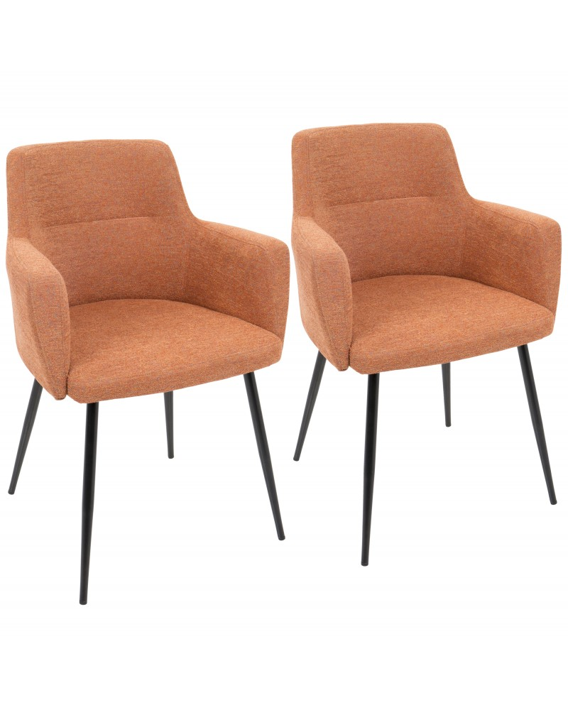 Andrew Contemporary Dining/Accent Chair in Black with Orange Fabric - Set of 2