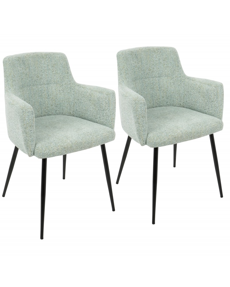 Andrew Contemporary Dining/Accent Chair in Black with Seafoam Green Fabric - Set of 2