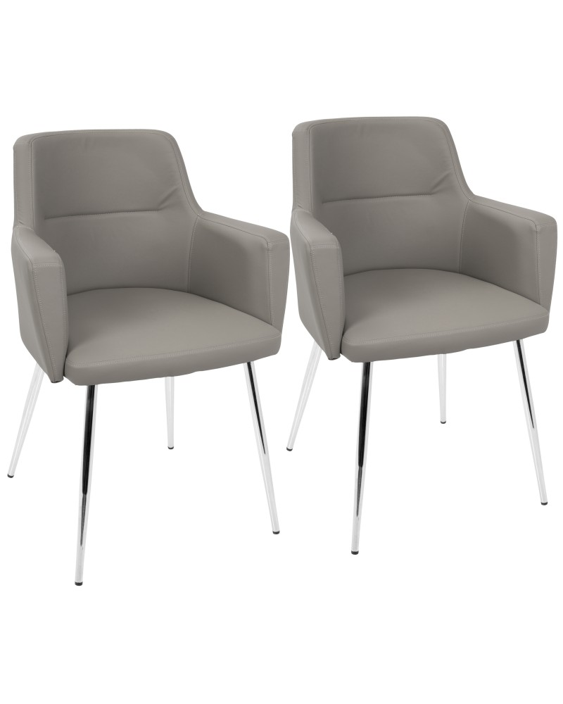 Andrew Contemporary Dining/Accent Chair in Chrome and Grey Faux Leather - Set of 2