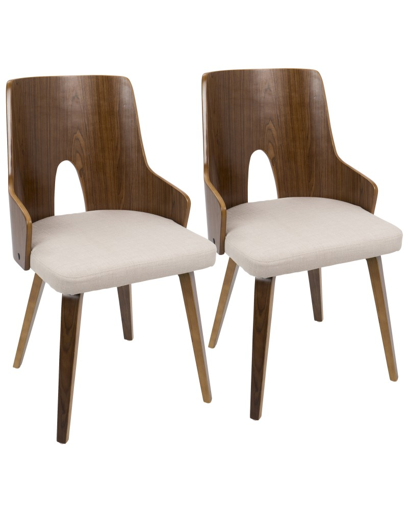 Ariana Mid-Century Modern Dining/Accent Chair in Walnut and Beige Fabric - Set of 2