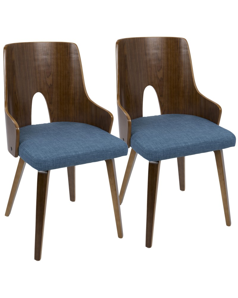 Ariana Mid-Century Modern Dining/Accent Chair in Walnut and Blue Fabric - Set of 2