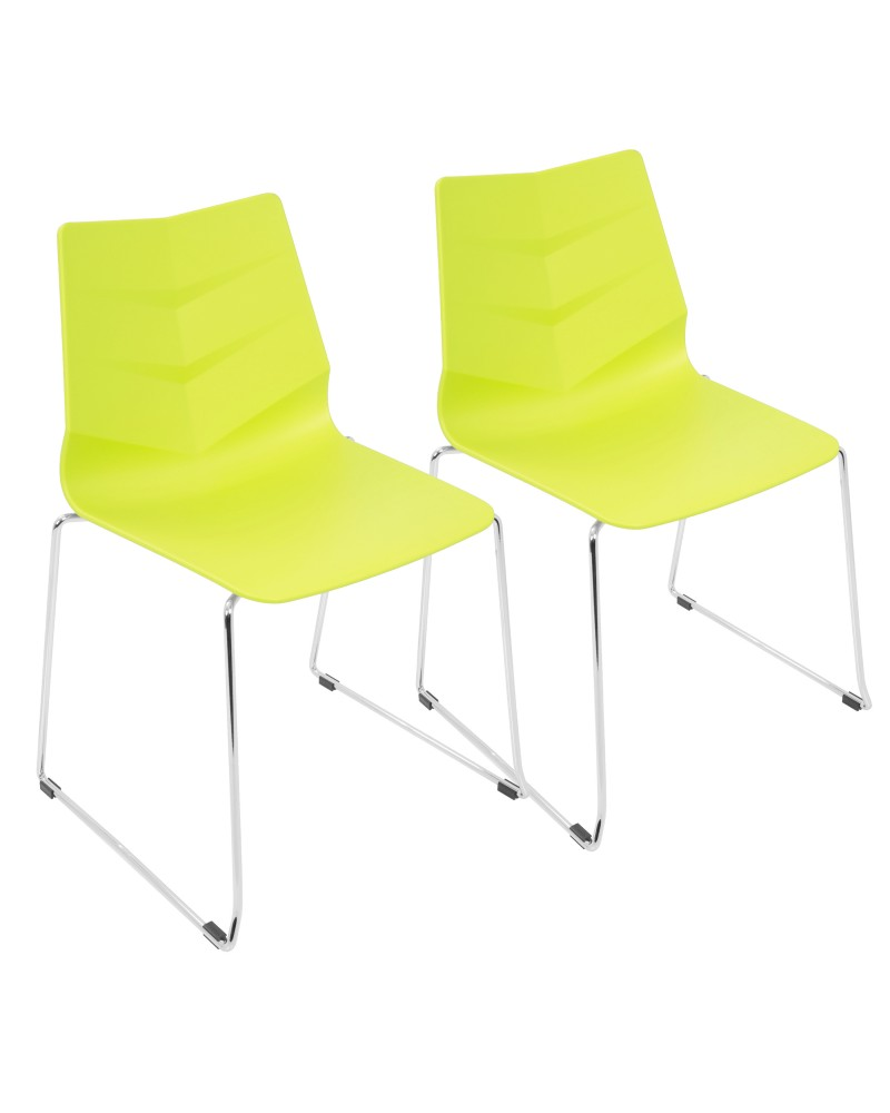 Arrow Contemporary Dining Chair in Lime Green - Set of 2