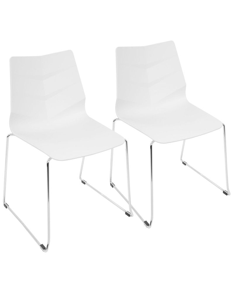 Arrow Contemporary Dining Chair in White - Set of 2