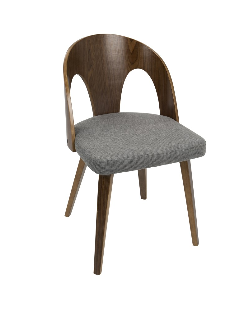 Ava Mid-Century Modern Dining/Accent Chair in Walnut and Grey Fabric