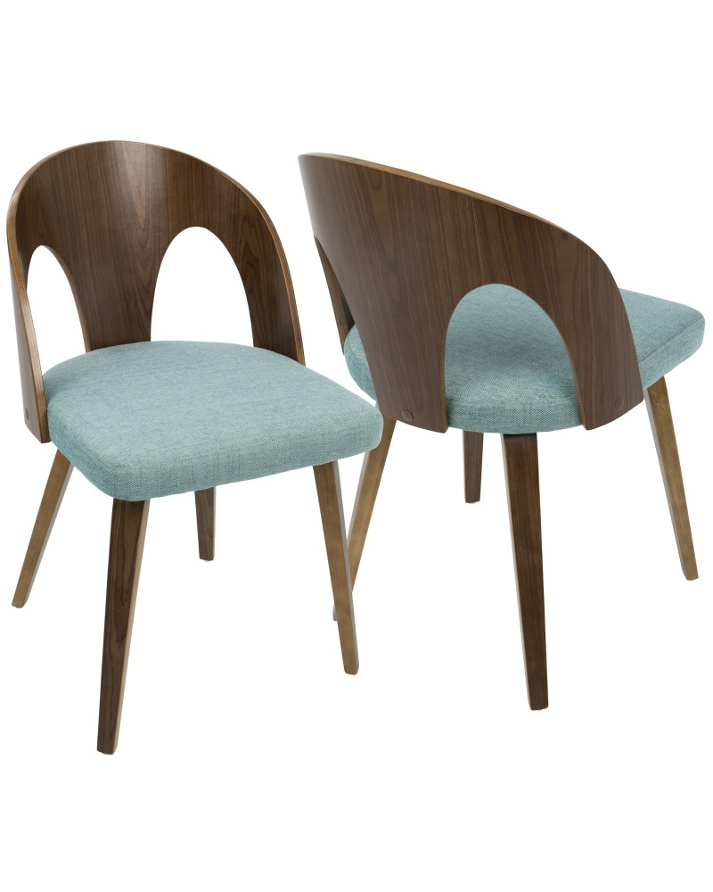Ava Mid-Century Modern Dining/Accent Chair in Walnut and Teal Fabric