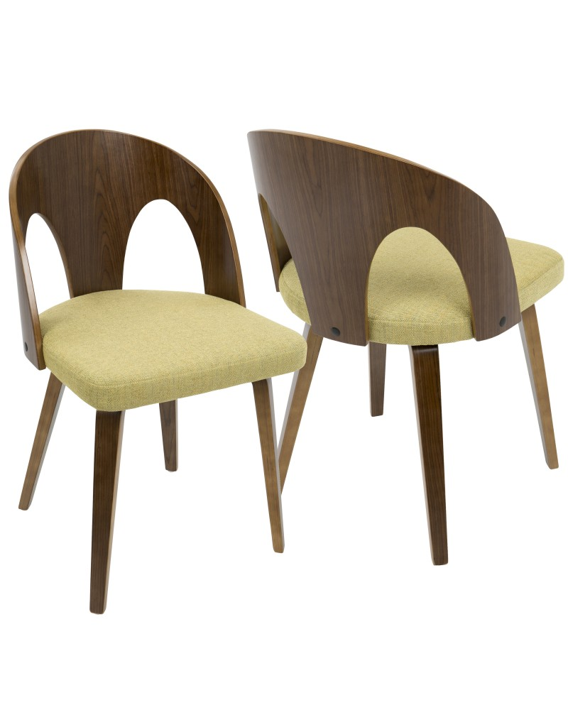 Ava Mid-Century Modern Dining/Accent Chair in Walnut and Yellow Fabric