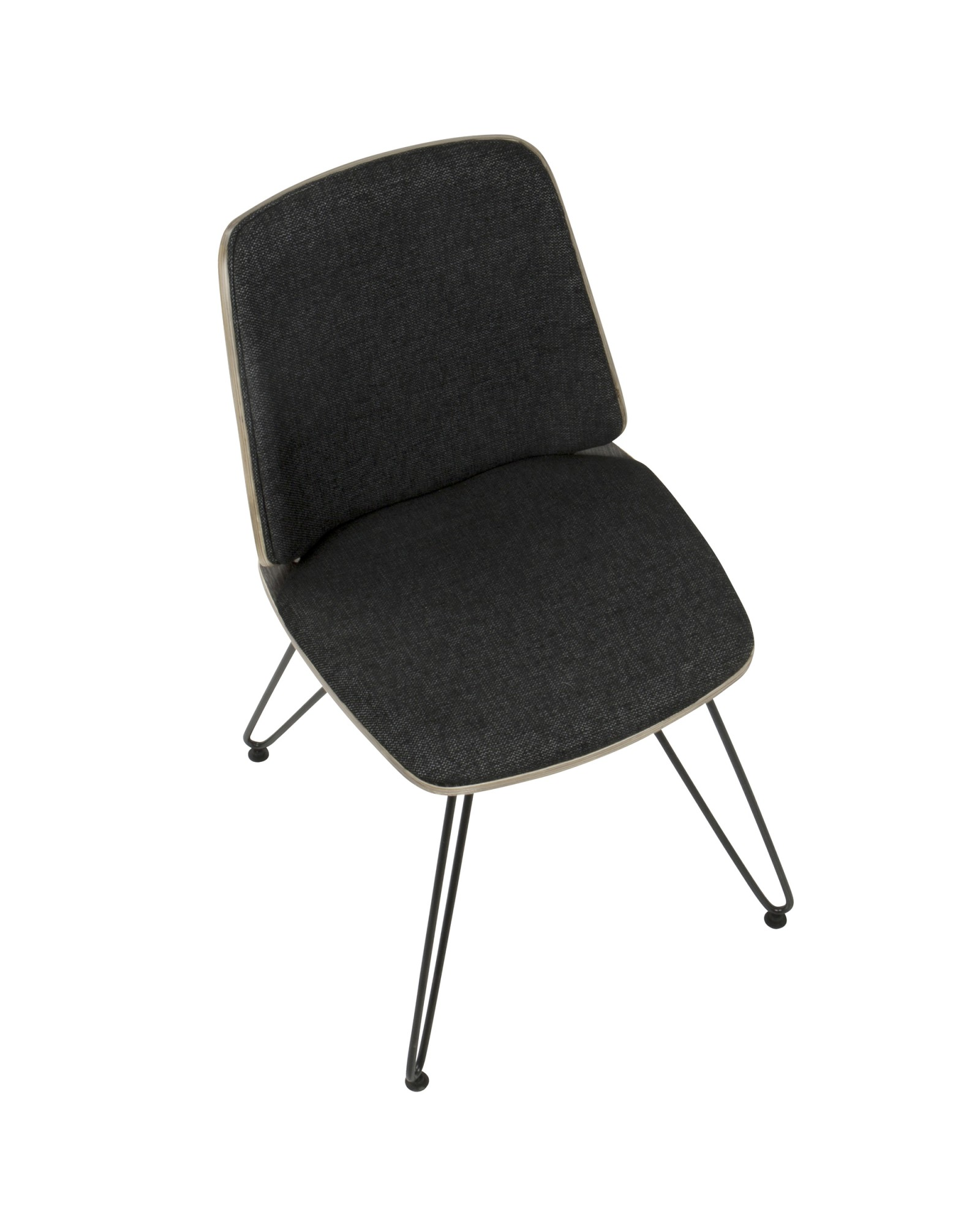 Avery Mid-Century Modern Dining/Accent Chair in Dark Grey Wood and Black Fabric - Set of 2