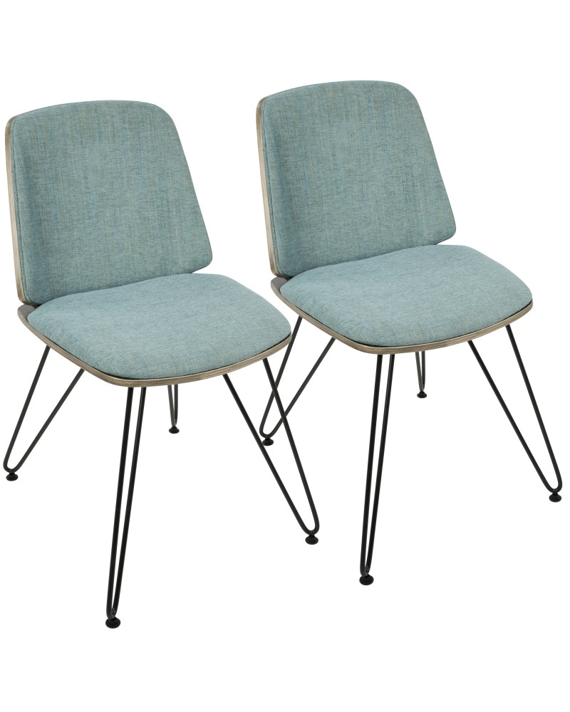 Avery Mid-Century Modern Dining/Accent Chair in Dark Grey Wood and Teal Fabric - Set of 2