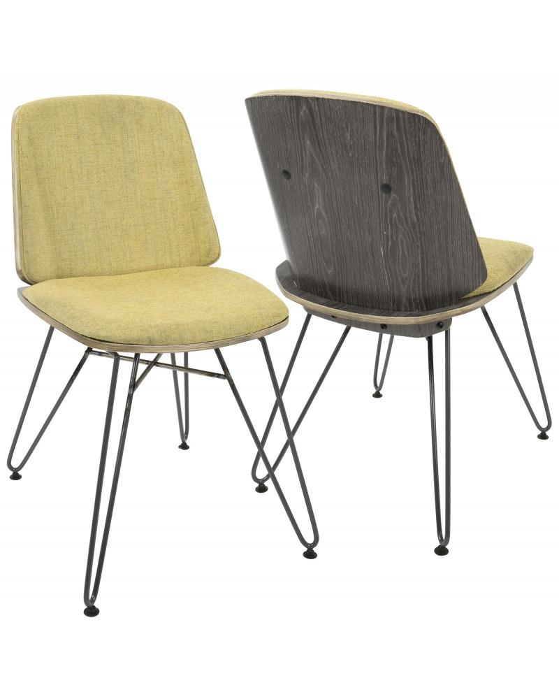 Avery Mid-Century Modern Dining/Accent Chair in Dark Grey Wood and Yellow Fabric - Set of 2