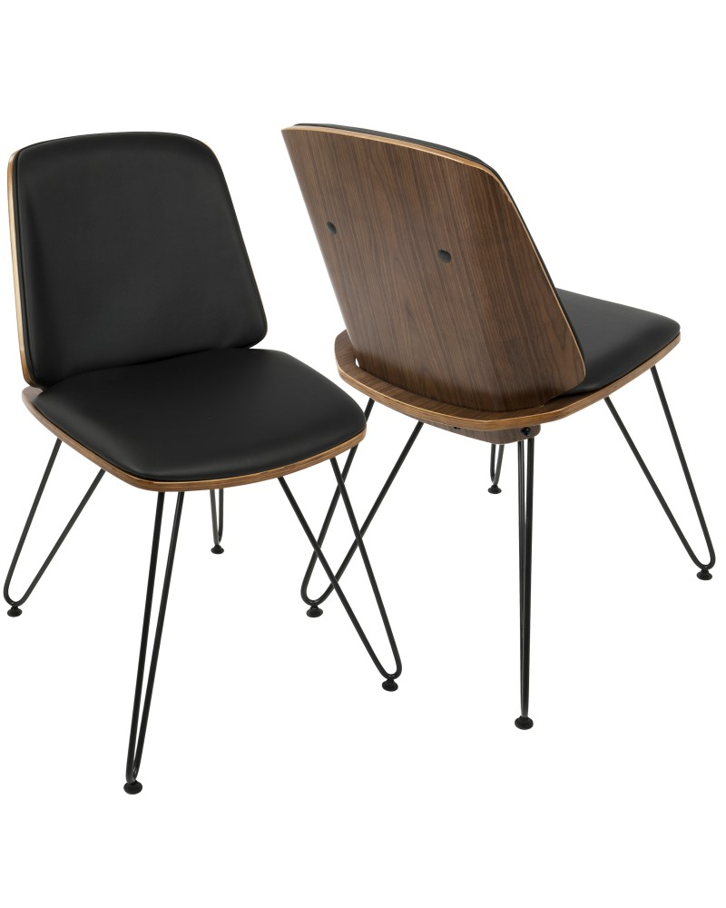 Avery Mid-Century Modern Dining/Accent Chair in Walnut Wood and Black Faux Leather - Set of 2