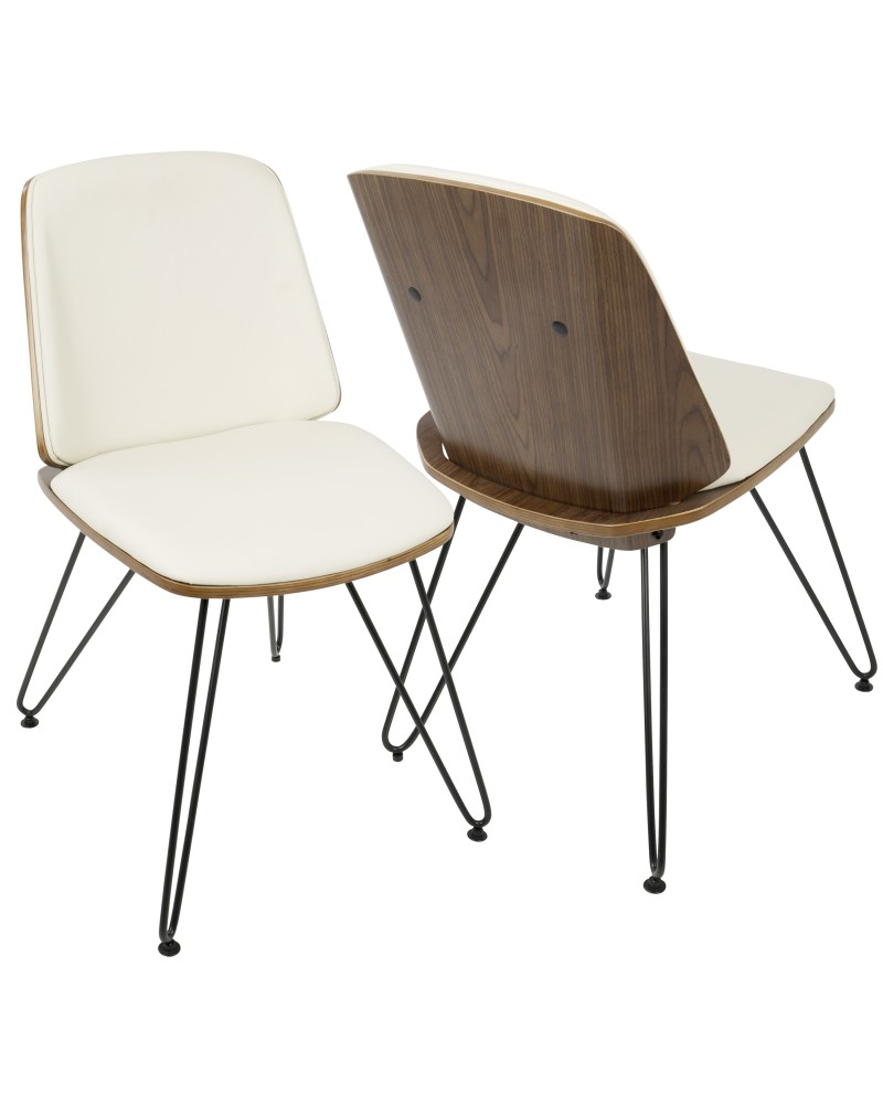 Avery Mid-Century Modern Dining/Accent Chair in Walnut Wood and Cream Faux Leather - Set of 2
