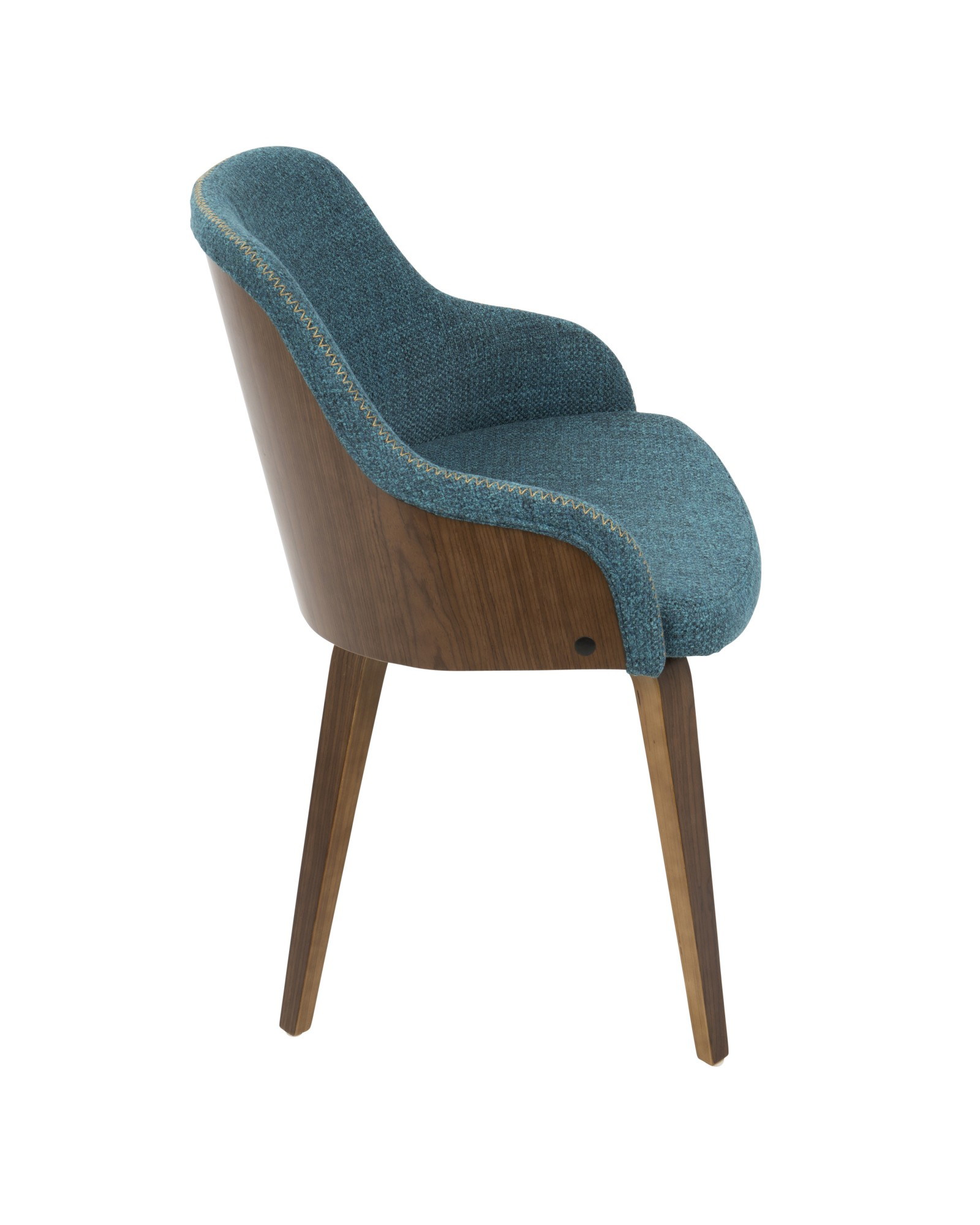 Bacci Mid-Century Modern Dining/ Accent Chair in Walnut Wood and Teal Fabric