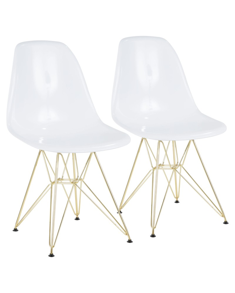Brady Mid-Century Modern Dining/Accent Chair in Gold and White -Set of 2
