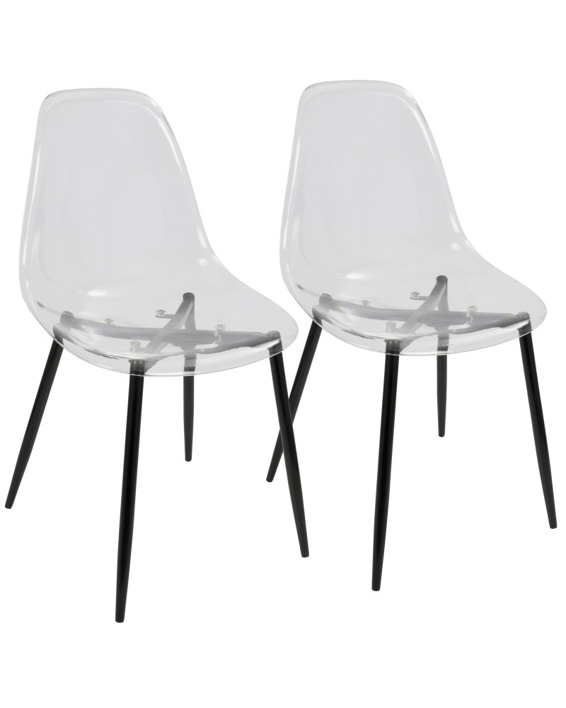 Clara Mid-Century Modern Dining Chair in Black and Clear - Set of 2
