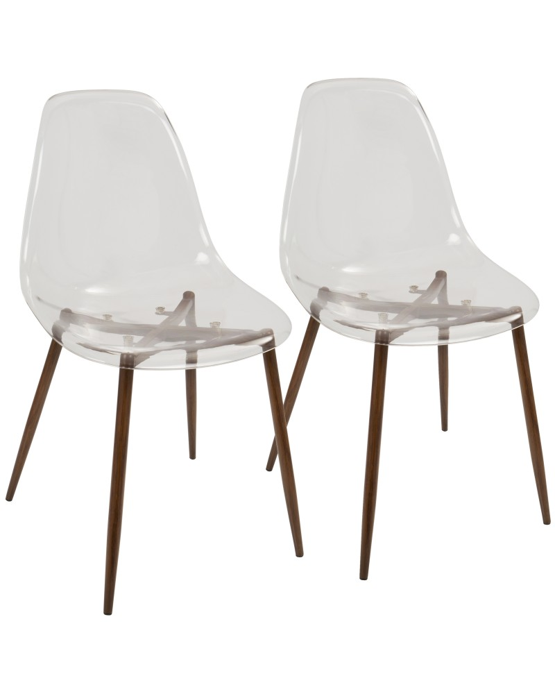 Clara Mid-Century Modern Dining Chair in Walnut and Clear - Set of 2