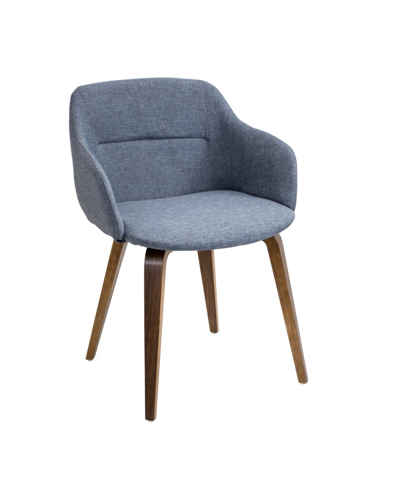 Campania Mid-Century Modern Dining/Accent Chair in Walnut and Blue