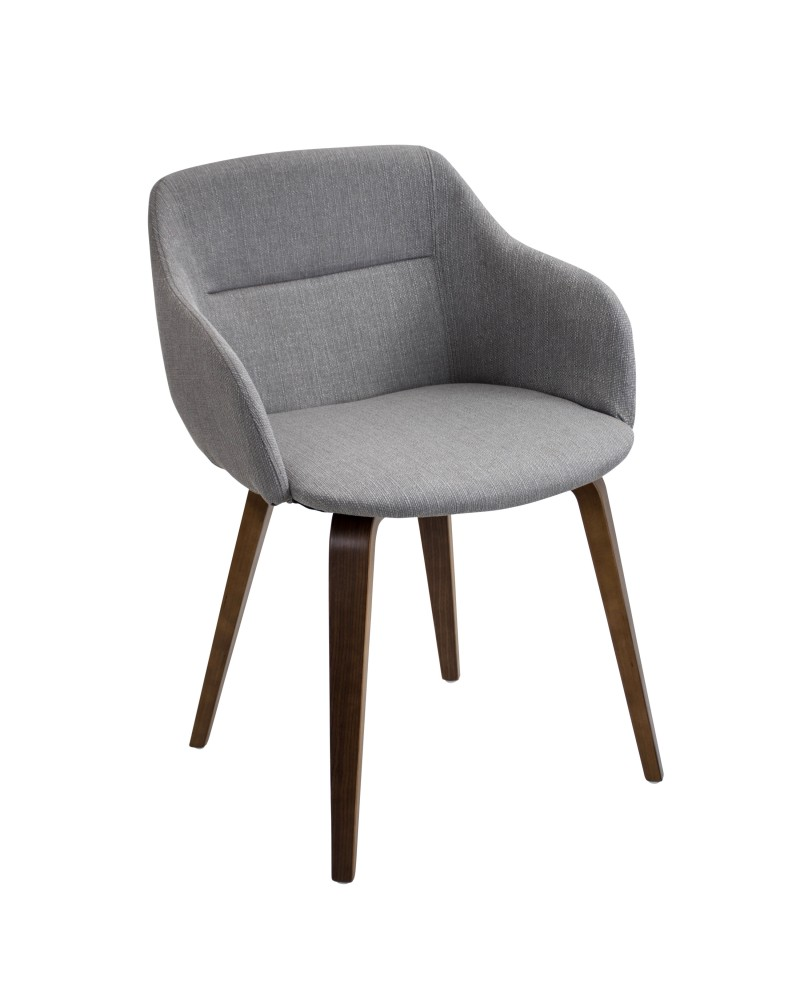 Campania Mid-Century Modern Dining/Accent Chair in Walnut and Grey