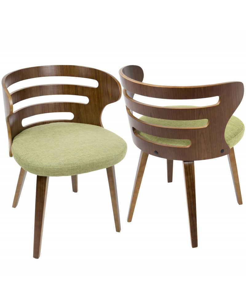 Cosi Mid-Century Modern Dining/Accent Chair in Walnut and Green Fabric
