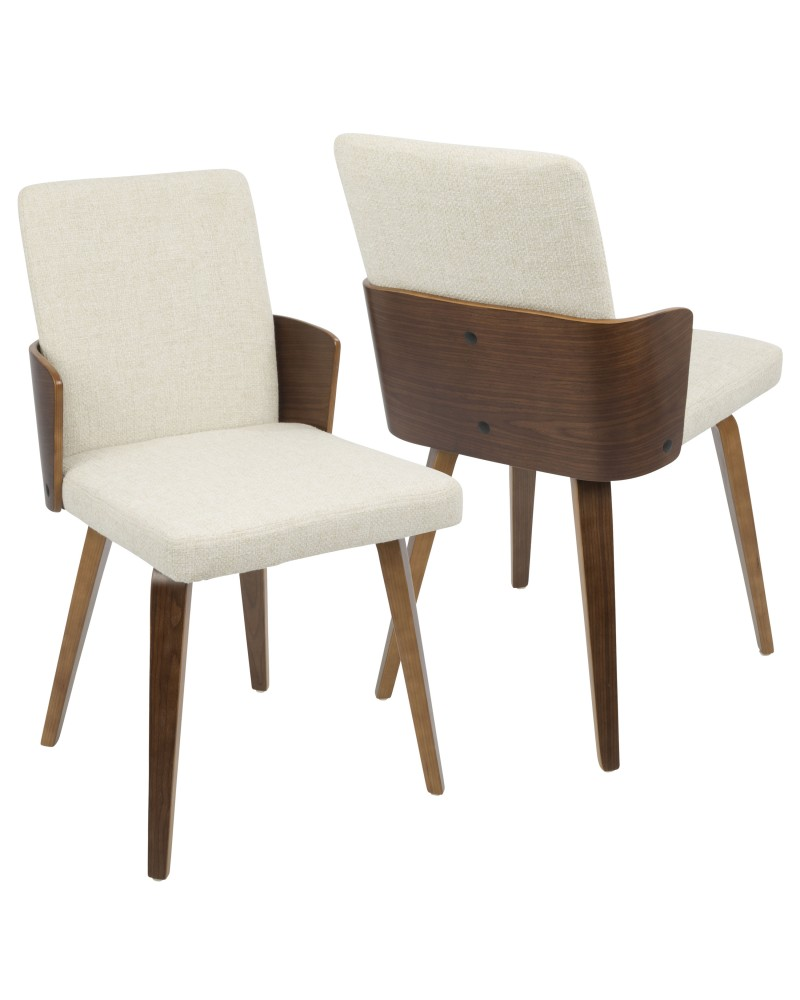 Carmella Mid-Century Modern Dining/Accent Chair in Walnut and Cream Fabric - Set of 2