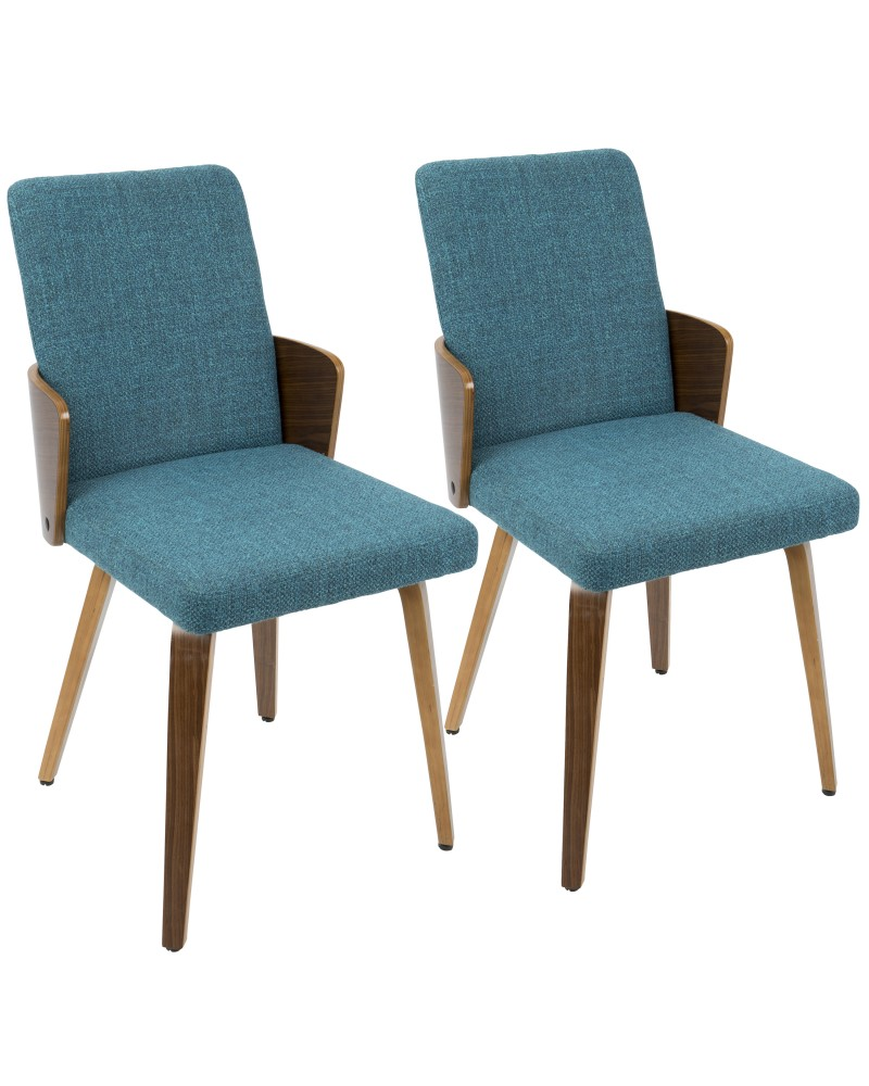 Carmella Mid-Century Modern Dining/Accent Chair in Walnut and Teal Fabric - Set of 2