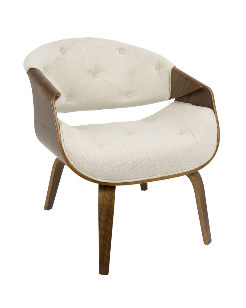 Curvo Mid-Century Modern Tufted Accent Chair in Walnut and Cream Fabric