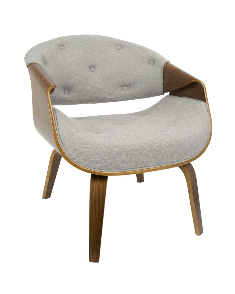 Curvo Mid-Century Modern Tufted Accent Chair in Walnut and Grey Fabric