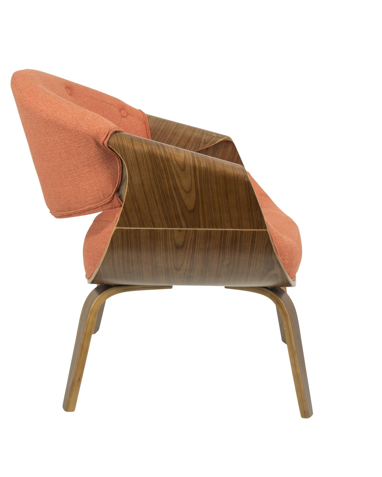 Curvo Mid-Century Modern Tufted Accent Chair in Walnut and Orange Fabric