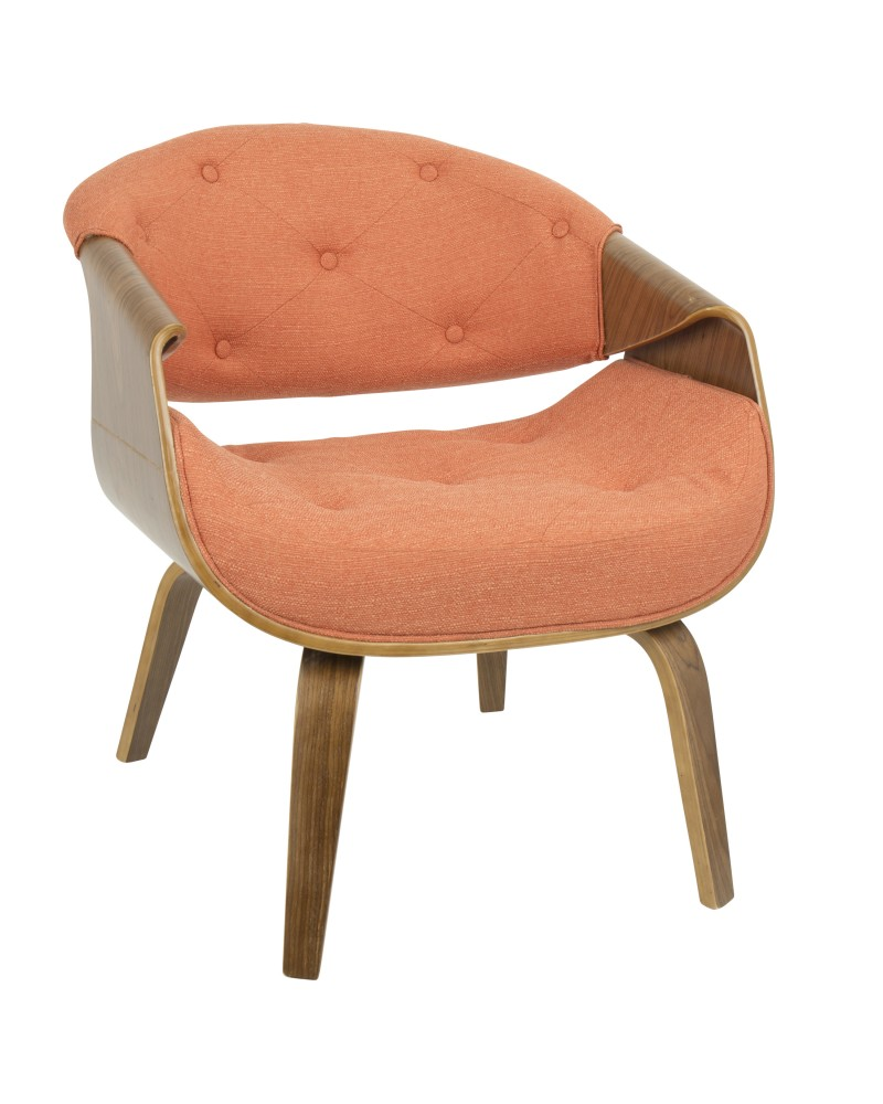 Curvo Mid-Century Modern Tufted Accent Chair in Walnut and Orange Fabric