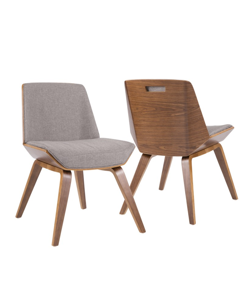 Corazza Mid-Century Modern Dining/Accent Chair in Walnut and Grey Fabric