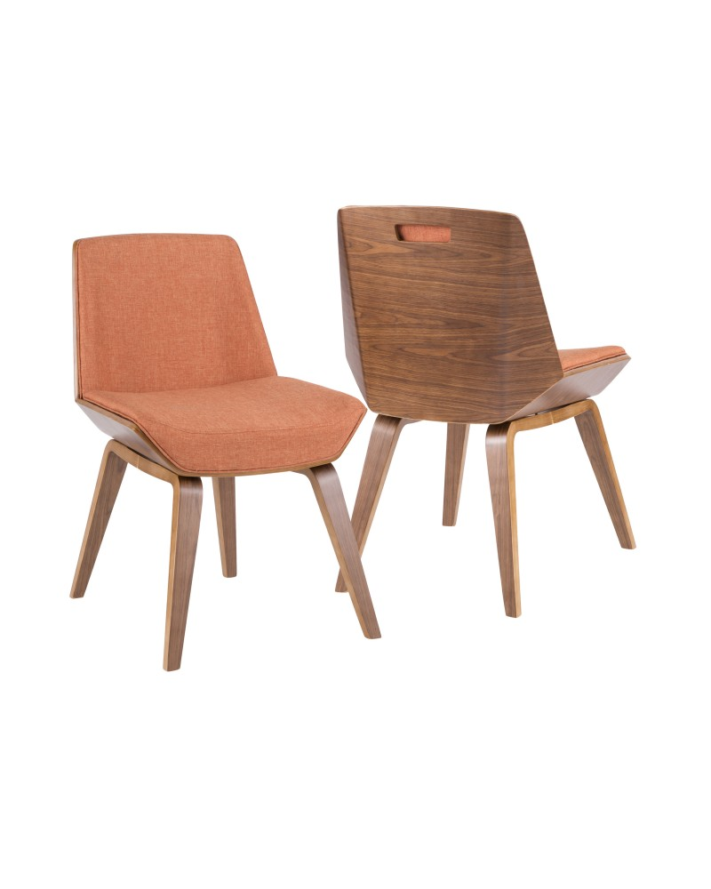 Corazza Mid-century Modern Dining/Accent Chair in Walnut and Orange