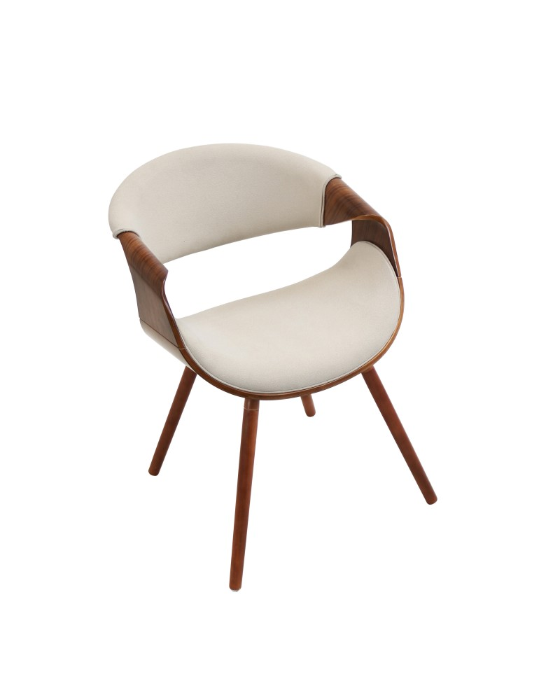 Curvo Mid-Century Modern Dining/Accent Chair in Walnut and Cream Fabric