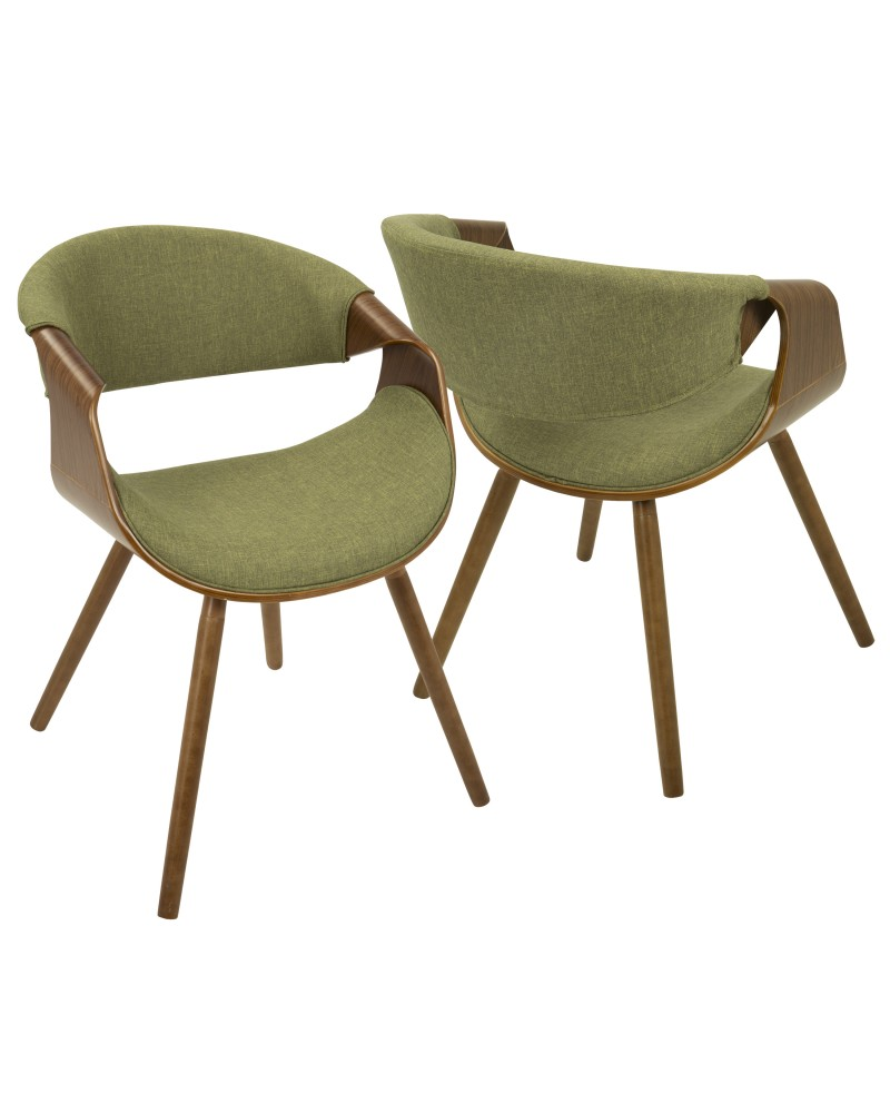 Curvo Mid-Century Modern Dining/Accent Chair in Walnut and Green Fabric