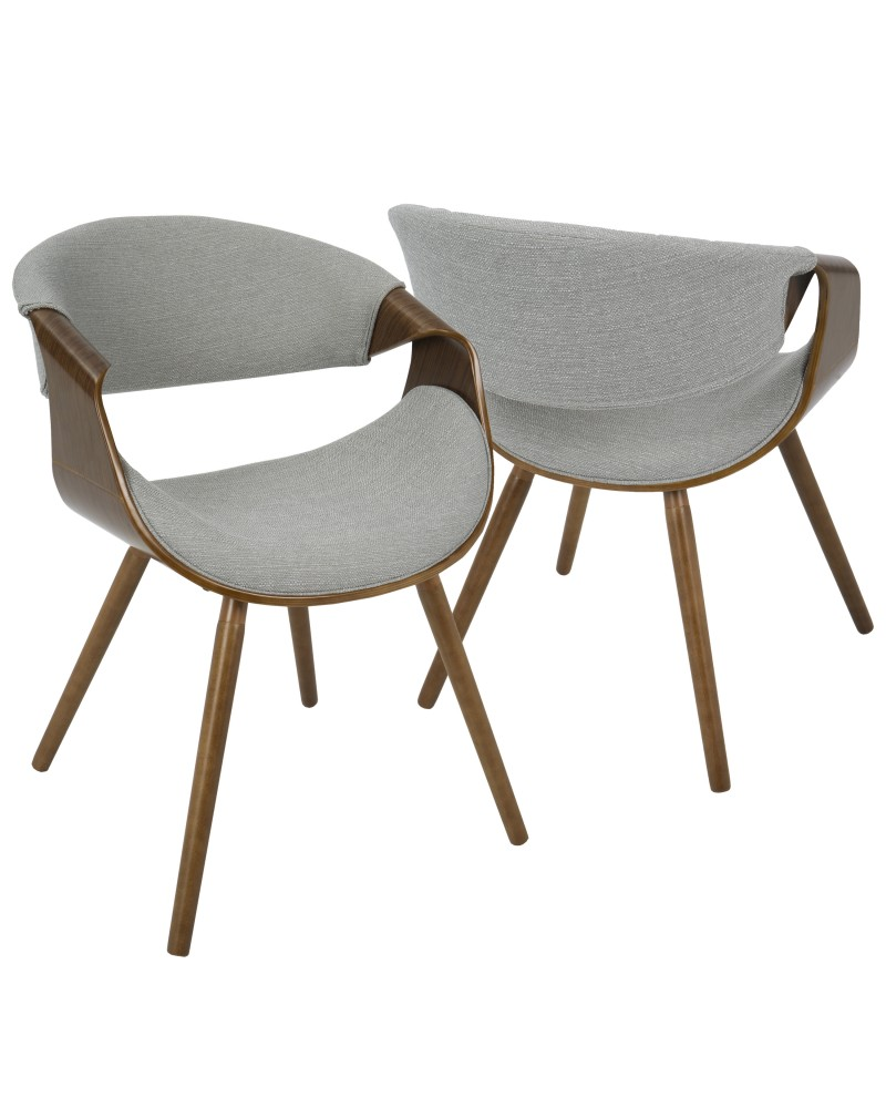 Curvo Mid-Century Modern Dining/Accent Chair in Walnut and Grey Fabric
