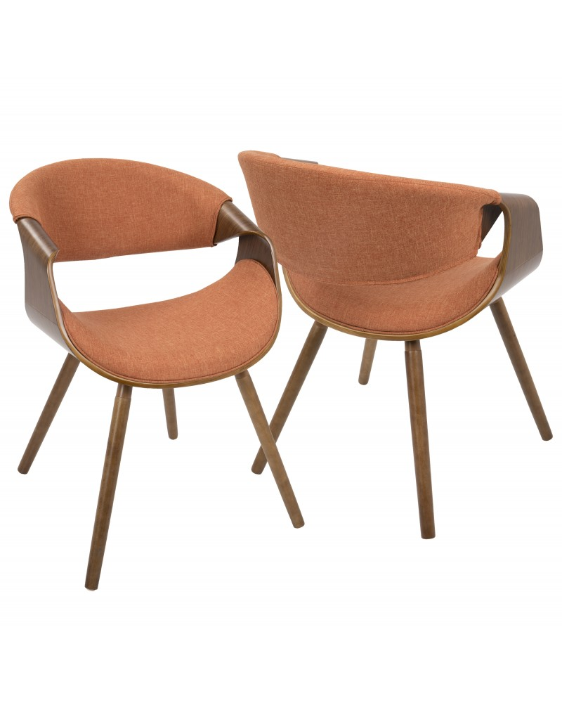 Curvo Mid-Century Modern Dining/Accent Chair in Walnut and Orange Fabric