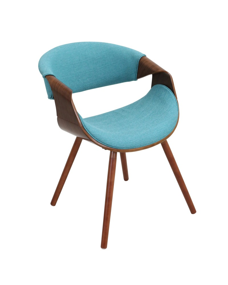 Curvo Mid-Century Modern Dining/Accent Chair in Walnut and Teal Fabric