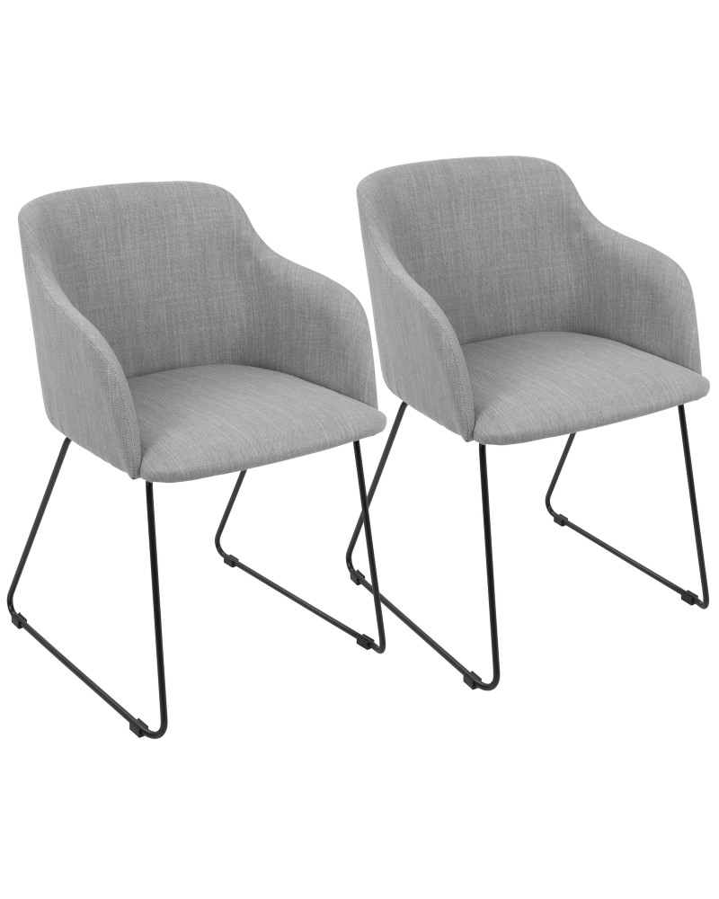 Daniella Contemporary Dining/Accent Chair in Light Grey - Set of 2