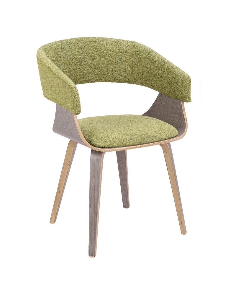 Elisa Mid-Century Modern Dining/Accent Chair in Light Grey Wood and Green Fabric