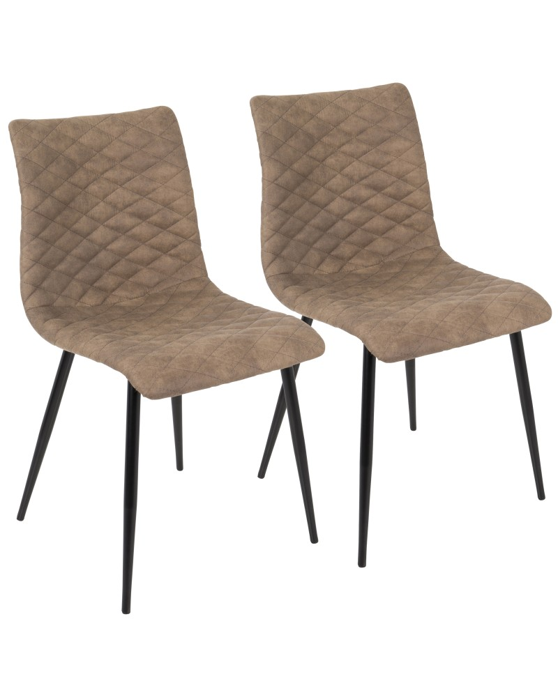 Eastwood Industrial Dining/Accent Chair in Brown Faux - Set of 2